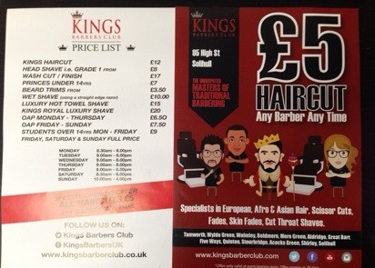 men's and boy's haircut for £5  kings barbers  money