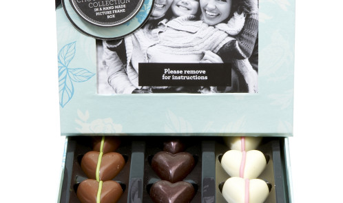 Finest Belgian Chocolate Heart Collection in a Hand Made Picture Frame Box