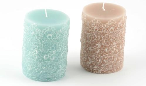 Lace Pillar Candles