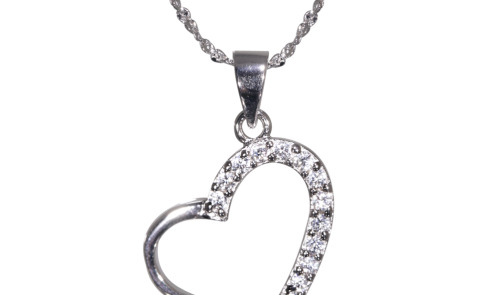 Natalia Real Sterling Silver DiamonFlash® Cubic Zirconia Heart Necklace - SHOULD BE £39 ONLY £9
